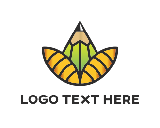 Artist - Pencil Flower logo design