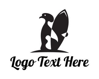 Surf - Penguin Surfer logo design