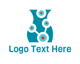 Atom - Laboratory Vase logo design