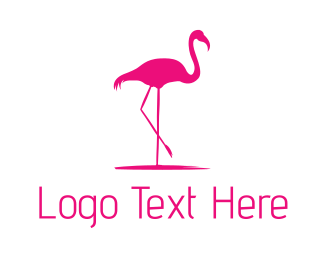 Vacation - Pink Flamingo Silhouette logo design