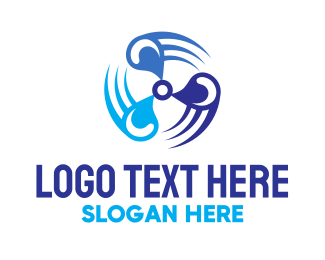 Helicopter - Blue Motor logo design