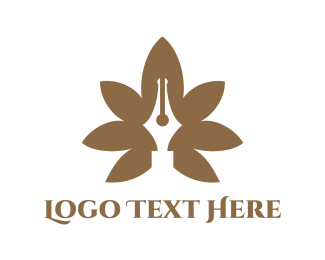 Drugs - Brown Cannabis Pen logo design