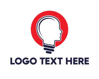 Mind - Red Head Bulb logo design