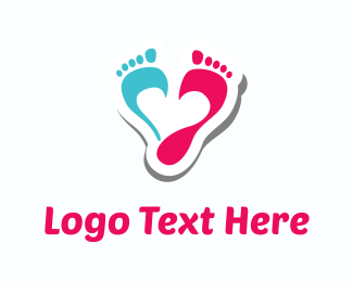Toe - Pink & Blue Footprints logo design