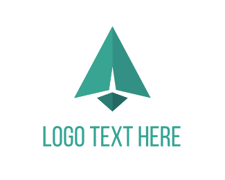 Paper Plane - Green Arrow logo design