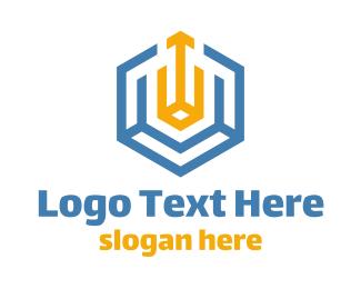 Logistics - Yellow Blue Hexagon logo design
