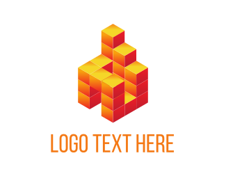 Pixel - Orange Block Building logo design