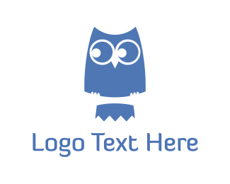 Owl - Blue Cute Owl logo design