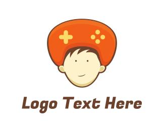 Teenager - Orange Hat Controller logo design