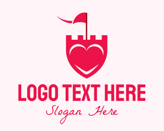 Romantic - Pink Heart Shield logo design