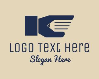 University - Pencil Hand logo design
