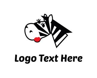 Flirty - Female Zebra Cartoon logo design