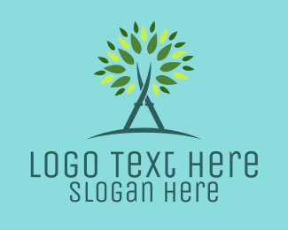 Green And Brown - Tree Scissors logo design