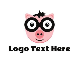Piglet - Nerd Pig logo design