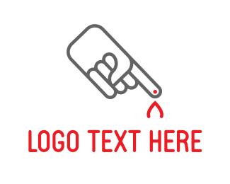 Blood - Hot Flame Finger logo design