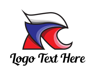 Russia - Red White Blue R logo design