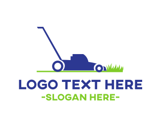 Machine - Blue Lawnmower  logo design