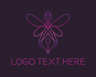 Blogging - Queen Pen Nib logo design