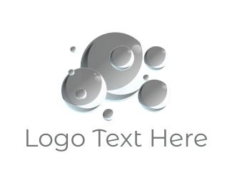 Laundry - Grey Bubbles logo design