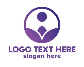 Botanist - Violet Flower Circle logo design