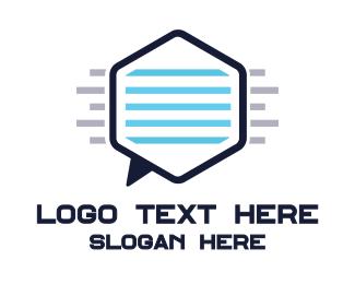 Sms - Hexagon Chat logo design