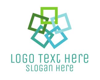 Connection - Square Flower logo design