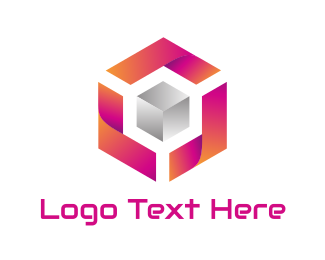 Orange And Pink - Gradient Pink Silver Cube logo design