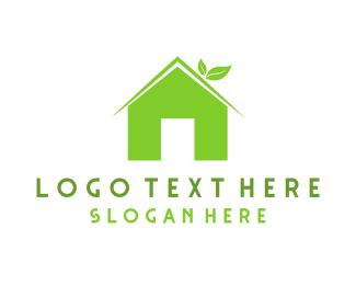 Wash - Green Eco Home logo design
