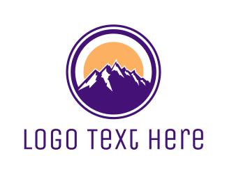 Valley - Circle Violet Mountain logo design