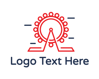 Amusement Park - Red Ferris Wheel Outline logo design