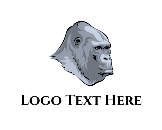 Monkey - Grey Gorilla logo design
