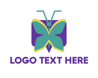 Talk - Mint Butterfly logo design