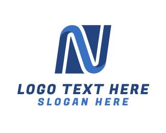 Curves - Network Letter N logo design