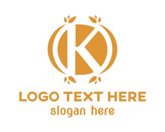 Ornament - Gold Leafy K logo design