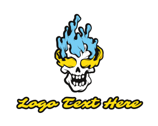 Corps - Blue Yellow Flame Skull logo design