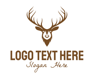 Prey - Brown Elk Head logo design
