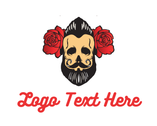 Hairdresser - Beard Man Flower logo design