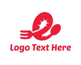 Chef - Red Cutlery logo design
