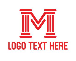 Pillar - Red Pillar M logo design