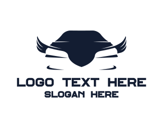 Motorsports - Blue Car Wings logo design