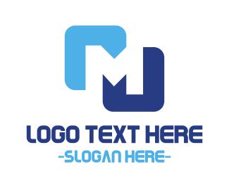 Negative Space - Minimalist Blue M  logo design