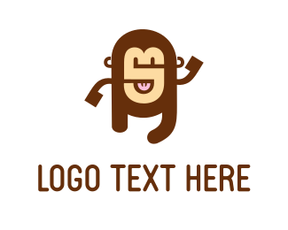 Chimpanzee - Alphabet Monkey logo design