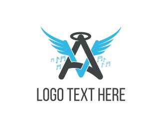 Singer - Angel Music logo design