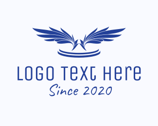 Fly - Blue Feathers  logo design