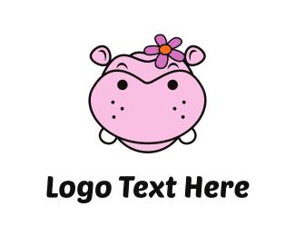 Black And Pink - Pink Hippo logo design