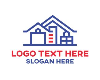 Developer - Geometric Blue House logo design