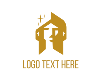 Woman - Golden Face logo design