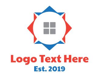 South - Red Blue House Compass logo design