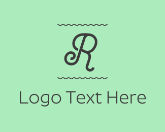Wavy - Curly Letter R logo design