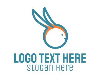 Hare - Blue Rabbit logo design